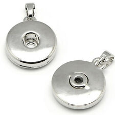 Silver Chunk Charm Finding Base Setting for DIY Snap Button Pendant Jewelry