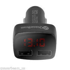 QuasarBeam 4 in 1 USB Dual Port Cigarette Car Charger Battery Tester USA (Black)