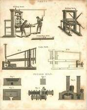 1802  Printing Press, Rolling Press, Cider Press, Potash Kiln Copperplate