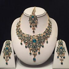 TURQUOISE GOLD INDIAN COSTUME JEWELLERY NECKLACE EARRINGS DIAMOND SET BRIDAL NEW