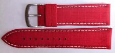 Authentic Locman 22mm RED Canvas & Leather Watch Band/Strap with Buckle. NEW