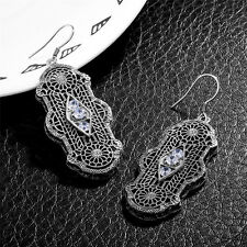 White synthetic  Gem 925 Sterling Silver Victorian Revival Filigree Earrings