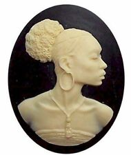 African American Cameo, Ethnic Cameo, Black Woman 40x30 Resin Black Ivory 547x