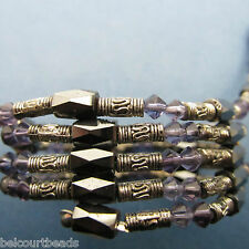 Beautiful Black Magnetic Wrap Bracelet Silver Beads Purple Color Crystal Beads
