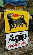 AGIP MOTOR OIL porcelain sign can rack display garage gasoline gas pump plate