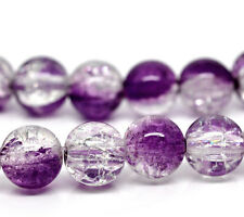 30 Crackle Glass GRAPE PURPLE and CLEAR Round Glass Beads 10mm bgl0338