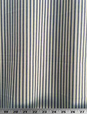 """Drapery Upholstery Fabric 100% Cotton 1/4"""" Ticking Stripe - Ink Blue / Ivory"""