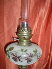 LAMPE A PETROLE EN VERRE GRANITE ET EMAILLE  BRONZE REGULE DECOR FLEUR FUCHSIA