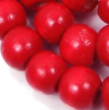 "10x8mm Red  Wood Rondelle Beads 16""  4mm hole"