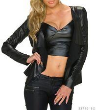 Veste/Vest Femme/Woman simili cuir Noir