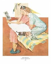 "Norman Rockwell print ""DREAMBOATS!"" 11""x15"" dormitory room college girls in love"