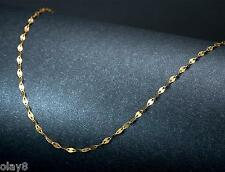Fashion Pure Au750 18K Yellow Gold Chain Women's Lip Link Necklace 17.7inch
