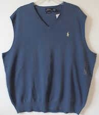 Polo Ralph Lauren Big and Tall Mens Shale Blue Pima Cotton Sweater Vest NWT LT