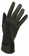 New Vintage 1930s 1940s 50's Style Fine Knit  Grey Button Detail Warm Gloves