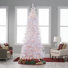6ft Artificial Pre Lit Christmas Tree Slim White Flocked Pine 250 Clear Lights