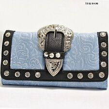 Baby Blue~ Rose Print Western Belt Buckle Wallet~Trifold Clutch for Womens Purse