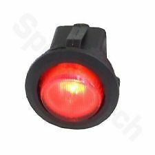 FULL FACE ILLUMINATED ON / OFF ROUND ROCKER SWITCH 12 VOLT RED AMBER GREEN SW43R