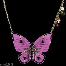 Purple & Black Painted Metal Butterfly Necklace CJN123