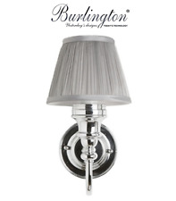 Burlington Bathrooms Ornate light with chrome base & silver chiffon shade   BL25