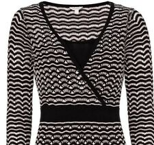 "BNWT "" Monsoon "" Size Medium (12 ) Sadie Knitted Dress Tunic Kasuri Black White"