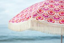 "Vintage Feel Pink and Orange Cute Beach Umbrella by Beach Brella 60""round 100%UV"