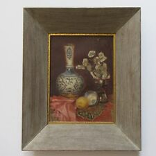 ANTIQUE ART DECO STILL LIFE PAINTING SIGNED PORCELAIN ASIAN CHINESE VASE FLORAL