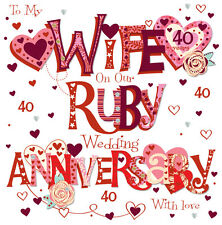 """Wife Ruby 40th Wedding Anniversary Greeting Card 8"""" Square Handmade Cards"""