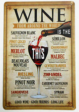WINE MENU  METAL TIN SIGNS vintage cafe pub bar garage retro kitchen
