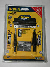 New Irwin Tools 15506SM 3 Piece Unibit HSS and Cobalt Drill Bit Set #1, #2 & #4