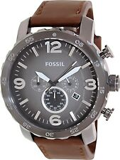 Fossil Men's Nate JR1424 Black Leather Quartz Watch
