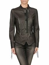 *NEW* Diesel Ladies distressed L-Pal-A Giacca Leather PEPLUM Biker Jacket SMALL