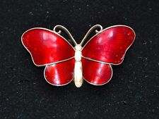 IVAR T. HOLTH NORWAY ENAMELED BUTTERFLY BROOCH / PIN STERLING SILVER SIGNED