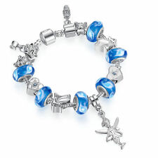 Angel Pendant blue European BRACELET With Murano Glass Beads Charm For Women