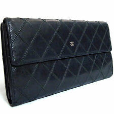Auth CHANEL Double Hook Long Wallet Silvertone CC Black Quilted Leather Italy