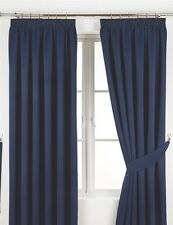 """90x72  Thermal Woven Blackout Curtains 3"""" Pencil Pleat Heading Navy"""