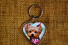 Yorkshire Terrier Keyring Yorkie Dog Key Ring heart shaped Xmas stocking gift