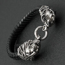 "8"" Men's Heavy Silver Stainless Steel Lion Heads Genuine Leather Bracelet Bangle"