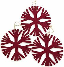 SNOWFLAKE CHRISTMAS ORNAMENTS Cranberry Red Large Felt Decor Retired Set of 3