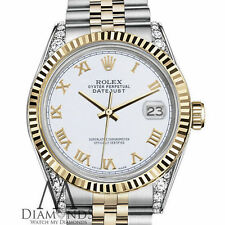 Rolex 26mm Datejust TwoTone White Gold Roman Numeral 18K Yellow Stainless Steel