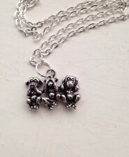 The Three Wise Monkeys Necklace See,speak Hear No Evil