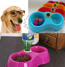 Dish Water Food Feeder Fountain Double Bowl NIUS Hot Puppy Dog Cat Plastic