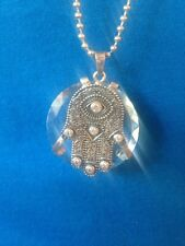 Virgins Saints & Angels Silver Crystal Hamsa Necklace 40% Off Retail