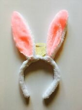 NEW WHITE & BABY PINK BUNNY EARS HEADBAND  - EASTER SPRING FUN FANCY DRESS