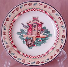 "Debbie Mumm WINTER BIRDS Green Brick Sakura 8.25"" Salad Dessert Plate Christmas"