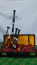 Scottish Great Highland Rose Wood Bagpipe Black Color Silver Mounts Plain/Gaita