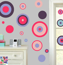 CERCHI ROSA & VIOLA pacco da 22 Wall art Adesivi EASY Peel & Stick Decalcomanie Murales