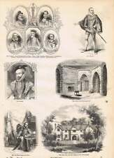Engravings Sir Walter Raleigh Birthplace Hayes Farm Beauchamp Tower