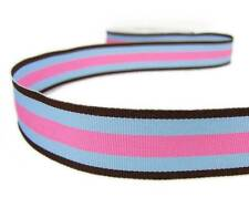 "5 Yds Brown Blue and Pink Striped Grosgrain Ribbon 7/8""W"