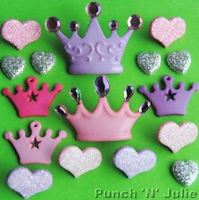 GLAM PRINCESS - Hearts Crown Girl Pink Lilac Novelty Dress It Up Craft Buttons