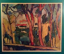 "Vintage Framed Maurice de Vlaminck Fauvist Color Lithograph ""The Red Trees"""